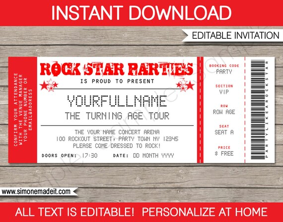 Rock Star Invitation   Concert Ticket Invitation   Rock Star Birthday Party  Theme   Red   INSTANT DOWNLOAD With EDITABLE Text  Concert Ticket Birthday Invitations