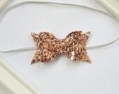 Rose Gold Bow Headband - Baby Bow Headband - Glitter Bow Headband - Gold Glitter Bow Headband - Christmas Bow Headband - Baby Bow Headband
