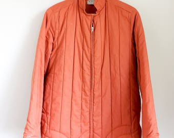 orange quilted chore/barn jacket