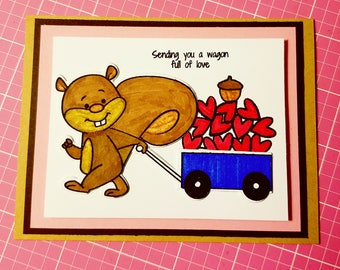 Happy Mother's Day Card, Squirrel, wagon, hearts, cute card