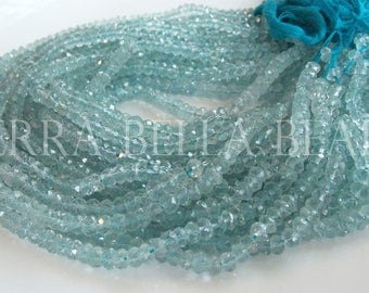 """12.5"""" strand AAA AQUAMARINE faceted gem stone rondelle beads 5mm blue"""