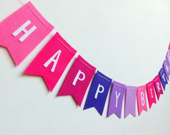 Ombre Pink and Purple Happy Birthday Felt Banner