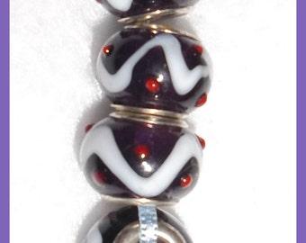 Lampwork Murano Style Beads White Swirls Red Raised Spot Silver Plate Core Glass Set 4