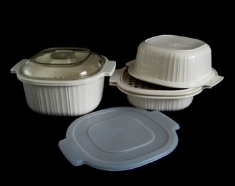 Rubbermaid Microwave Cookware Casserole Dish 5553 5152 5551, Steamer 5556, Roasting Rack 5155, Lids 5018 5017 Microwave Cookables