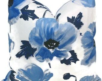 Kate Spade Blue Floral Pillow Cover Choose your size  Square, Eurosham or Lumbar pillow, Kravet Kate Spade fabric, toss pillow, throw pillow