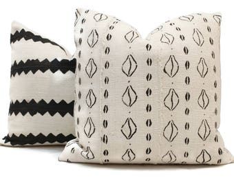 Decorative Pillow Cover White and Black with Animal Hoof African Mud Cloth, Hand made fabric from Mali Square or lumbar pillow