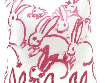 Lee Jofa Groundworks Hutch Pillow Cover, Pink Bunny Pillow, Made to Order, Hunt Slonem, Pink and white pillow, throw pillow, toss pillow