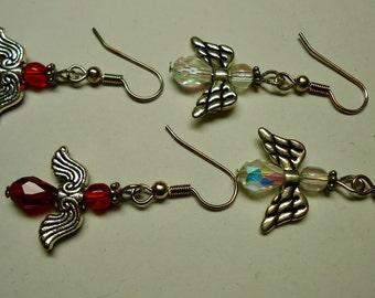 Angel Earrings 2 pairs, Clear Earrings Red Earrings. Swarovski Crystals