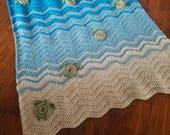 Sea Turtle Crochet Blanket - Baby, Throw, Twin, Queen, King