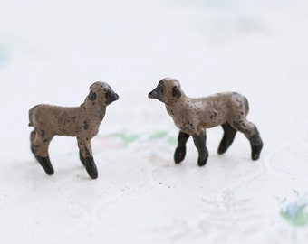 Lead Lambs - Set of 2 - Antique Iron Cast Sheep Toy - Miniature Nativity Scene - Made in England
