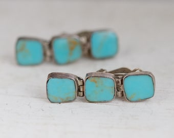 Turquoise Sterling Silver Clip On Earrings - Made in Chile