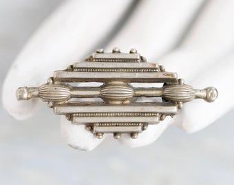Art Deco Lapel Pin - Geometric Brooch - Dark silver
