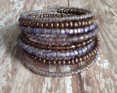 Memory Wire Bracelet in Shades of Bronze and Lavender Glass Beads- Bronzed Lavender