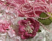 Pastel Pink Lace Combo, Pearls, Flowers, Novelty Ribbon, Lace