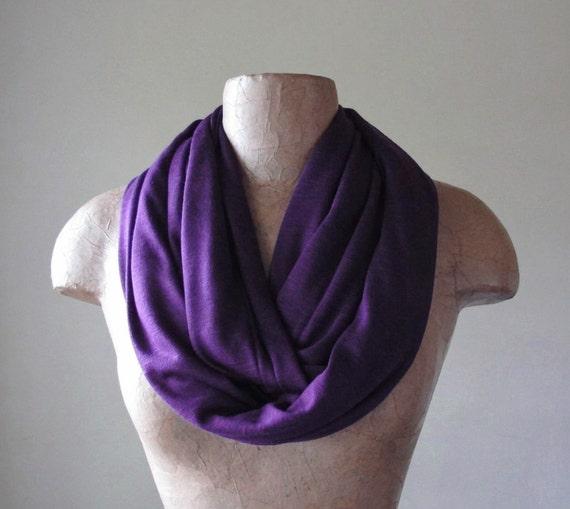 EGGPLANT Infinity Scarf - Purple Circle Scarf - Lightweight Heliotrope Jersey Scarf - Loop Scarf, Eternity Scarf
