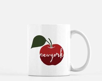 New York mug | New York city mug | New York apple mug | big apple mug | New York coffee mug | New York home | New York gift | hand lettered
