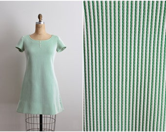 60s Green Striped Mod Dress / Mod mini dress/ 1960s Mod Dress / Size S/M