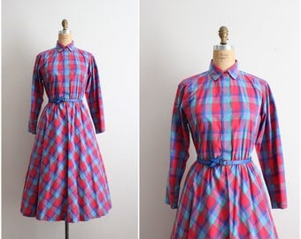 80s does 50s Dress / Full Skirt Dress / 1950s Collared Dress / Plaid Dress/ Cotton Dress/ Size L/XL