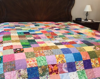 Handmade Queen Quilt, Patchwork Quilt, King Quilt, Traditional Quilt, Quilt, Spring Colors Quilt, Homemade Quilt, Minimalist Quilt, Quilts 2