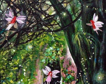 """Enchanted Forest Original, Painting on 11"""" x 14"""" Stretched canvas; Fantasy forest painting, Acrylic painting, Office painting, wall decor"""