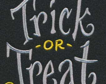 Trick or Treat Halloween Bats and Candy Embroidered Flour Sack Hand/Dish Towel