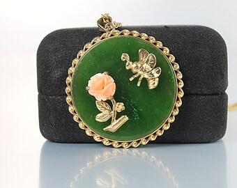 Carved Coral Rose Necklace, Bee pendant Dark Green jadeite Swoboda jewelry
