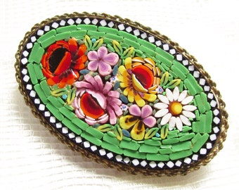 Large Vintage Micro Mosaic Brooch Italy 1920s Green Red Purple Yellow White Flowers