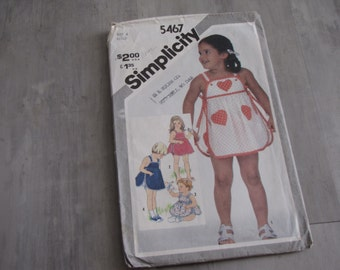 Vintage 1982 Baby Girl Toddler Sundress and Panties Pattern - Simplicity 5467 - Size 4