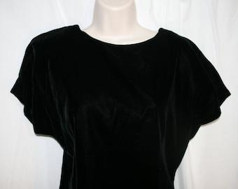 Vintage Classic Little Black Dress 1970s Velvet Spectator New York beribboned Rhinestone back ties 70s