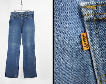 Vintage 70s Levi's 517 Jeans Distressed Denim Orange Tab Worn Faded Made in USA - 34 x 36
