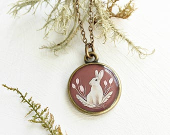 Bunny Rabbit Necklace, Spring Flowers Easter Jewelry, Illustrated Handmade Art Pendant