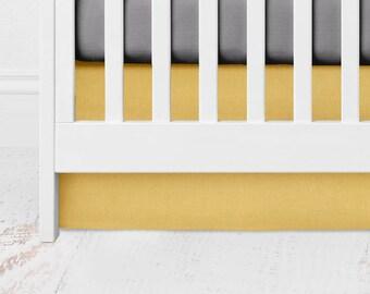 Mustard Straight Crib Skirt - Mustard Crib Skirt - Mustard Crib Bedding - Yellow Crib Skirt - Gender Neutral Baby Bedding -Mustard Bed Skirt
