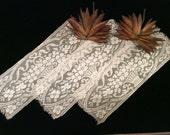 Vintage 3 Matching  Filet Lace Flower Basket Design Pieces, Vintage Lace, Filet  Lace, Vintage Baskets, Vintage Craft Supplies