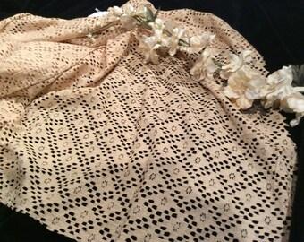 Vintage Ecru Cotton Knit Lace Fabric, Vintage Knit Lace Material, Vintage Sewing Supplies