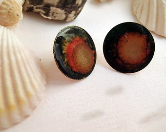 Copper alcohol ink and resin post earrings