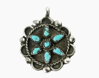 Vintage Zuni Petit Point Turquoise Sterling Silver Pendant