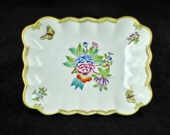 Vintage Herend Queen Victoria Rectangular Dish  VBA 7738