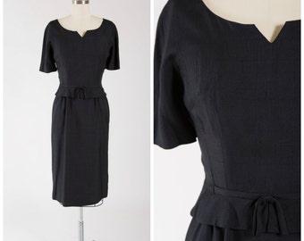 Vintage 1950s Dress • Next to Me • Black Rayon Blend 50s Dress Size Medium