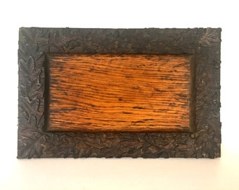 Vintage hand carved tray / frame / Candle tray