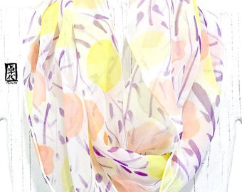 Silk Summer scarf, Loop Boho Scarf, Spring Chiffon Scarf, Handpainted Scarf, ETSY, Pastel Salmon Pink and Yellow Wildflowers, 11x60 inch
