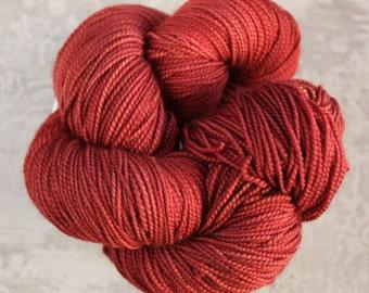 Indie Dyed Yarn - Sock Yarn - Fiery Copper Red Orange Yarn - Superwash Merino - Hand Dyed - Fingering Weight - 400 yards - CONDUIT