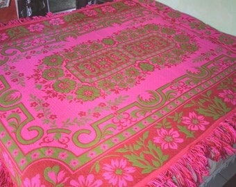 "Gypsy Bedspread, Pink and Green, Reversible, Rayon and Wool, 69""w. x 100"" l.,"
