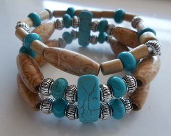 Turq and Wood Two Tier Beaded Stretch Bracelet-Western Cowboy-Tribal- Cultural ( 12 )