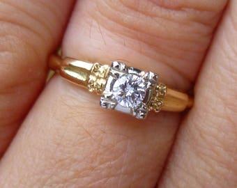 Art Deco Engagment Ring  White and yellow gold..... diamond....European Cut Diamond Ring