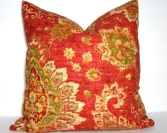 Red Green Yellow Paisley Floral Pillow Cover Decorative Pillow Cover Size 18x18