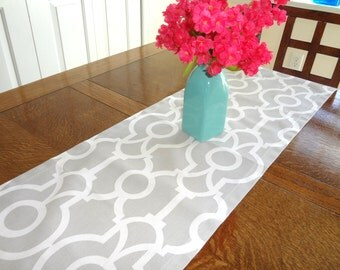 Grey & White Geometric Table Runner Tablecloth Geometric Grey Table Runner 12x72
