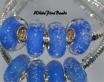 Blue Bubbles Large Hole Murano Glass Bead Fits European  Charm Bracelets