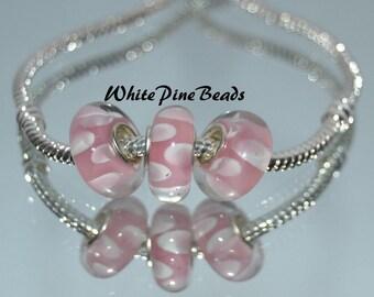 Pink White Petals Glass Bead Fits European Bracelets