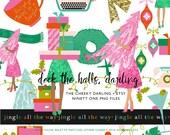 91 Cute Glitter Christmas Holiday Clip Art Set Kate Spade Inspired Modern Chic Planner girl PRINTED CU OK