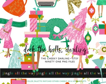91 Cute Glitter Christmas Holiday Clip Art Set Kate Spade Inspired Modern Chic Planner girl ...